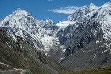 View Of The Himalayan Mountains In The Spiti Valley In Himachal Pradesh, India.