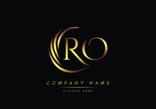 Alphabet Letters RO Monogram Logo, Gold Color Elegant Classical