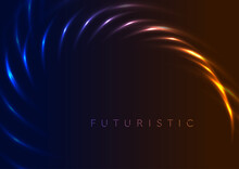 Blue Orange Glowing Neon Abstract Laser Vector Background
