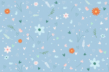 Vector - Lovely Fall Leaves, Flower, Butterfly And Heart On Blue Background.