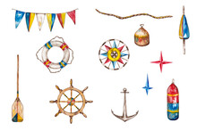 Nautical Ahoy Clipart. Anchor, Life Ring, Compass, Boat Oar, Ship's Flags, Buoy, Rope And Stars. Red-blue Yellow Marine Decor. Watercolor Hand Painted Isolated Elements On White Background.