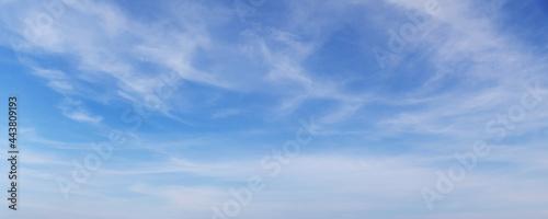 Fotografia, Obraz Blue sky with white cirrus clouds on a daytime, background