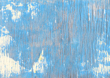 Old Wood With Peeling Blue Paint Texture Background. Weathered Wooden Wall With Vertical Painted Cracks.