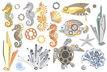 Set Of Cute Abstract Sea Horses, Fish, Turtle, Starfish, Shell, Seaweed, Gear Wheels. Fantastic Mechanical Metal Sea Creatures. Steampunk Style. Cartoon Design.