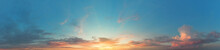 Panorama Of Turquoise Sky With Setting Or Dawn Sun