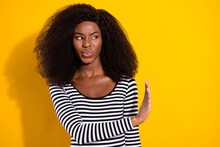 Photo Portrait Of Young Woman Looking Copyspace Disgusted Rejecting Refusing Isolated Vivid Yellow Color Background