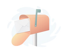 Mailbox Postbox Concept. Colored Illustration. Isolated On White Background.