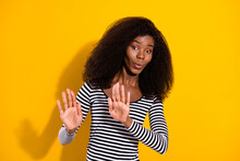 Photo Portrait Of Young Woman Refusing Telling Enough Showing Stop Gesture Isolated Vibrant Yellow Color Background