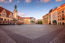 Leipzig, Germany. Cityscape Image Of Leipzig, Germany With Old Town Hall And The Market Square At Sunrise.