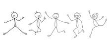 Stick Figure Dudi Jumping, Joy, Isolated, Vector