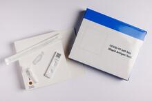 Coronavirus Lateral Flow Self Test Kit On White Background