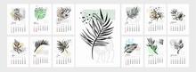 Vector Art Tropical Flower Calendar 2022 Year. Leaf Tropic On Geometric Shapes Background.