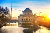 Fototapeta Kuchnia - Museum Island on Spree river and TV tower in the background at sunrise, Berlin, Germany