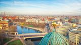Fototapeta Kuchnia - Aerial view over Spree river, Berlin, Germany