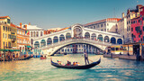 Fototapeta Kuchnia - Gondola on Grand canal near Rialto bridgein Venice, Italy