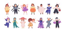 Set Of Kids Disguised In Funny And Scary Costumes For Halloween Party. Happy Children Dressed In Carnival Clothes. Cute Girls And Boys In Festival Outfit. Flat Vector Illustration Isolated On White