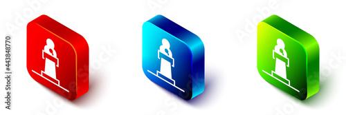 Fotografia, Obraz Isometric Speaker icon isolated on white background