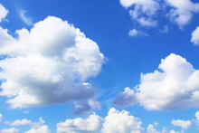 Beautiful Blue Sky And White Cumulus Clouds. Background. Scenery. Texture.