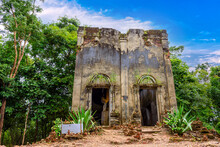 Wat Somdet Old (Thai Temple) It Was Abandoned Is Located At The Jungle On A Small Hill In Sanghklaburi, Kanchanaburi, Thailand.
