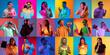 Leinwandbild Motiv Portrait of group of people on multicolored background in neon light, collage.