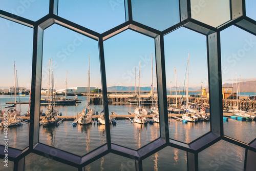 Obraz na plátně Sea view from Harpa concert hall in Reykjavík
