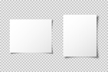 A4 Paper Mockup Vector Template With Shadow Isolated On Transparent Background. Graphic Element. Blank Paper Mockup Vector Design. Web Banner.