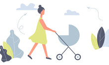 Happy Mother On A Walk With Newborn In Stroller. Woman Pushing Pram With Child In Park. Young Mom With Baby In Pushchair Isolated On White Background In Funky Figures Style. Vector Illustrationr