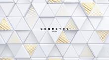 Geometric Background Of White Mosaic Triangle Shapes
