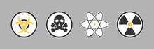 Yellow Sign Warning For Radiation Toxic Gas Bio Hazard. Radioactive Radiation Warning. Biological Lab Label