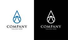 Unique Design Logo Or Water Drop With Pyramid Design Vector Template.