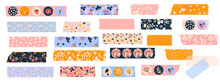 Vector Set Of Washi Tapes With Berries,  Leaves, Flowers And Dots. Masking Tape Or  Adhesive Strips For Frames, Scrapbooking, Borders, Web Graphics, Crafts, Stickers.