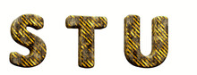 Industrial Alphabet. Letters S, T, U In 3d Render. White Background. Path Save.