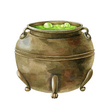 Old Metal Kettle. Hand Drawn Watercolor Illustration. Magic Pot With Potion, Green Bubbles. Halloween Decor Element. Witch Cooking Traditional Kettle Object. Vintage Caldron On White Background