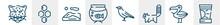 Desert Line Icons Such As Jaguar, Hive, Dunes, Aquarium, Crow, Sun Cream Outline Vector Sign. Symbol, Logo Illustration. Linear Style Icons Set. Pixel Perfect Vector Graphics.