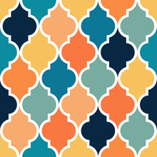 Seamless Geometric Quatrefoil Pattern Design In Yellow, Orange, Blue, Navy Blue And Turquoise Colors On White Background