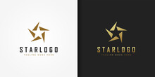Gold Star Logo. Luxury Star Icon With Geometric Shapes Cutout Style Isolated On Double Background. Usable For Business And Branding Logos. Flat Vector Logo Design Template Element.