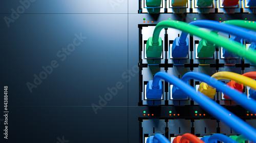 Obraz na plátně Internet Network Switch With Plugged Internet Ethernet Cables