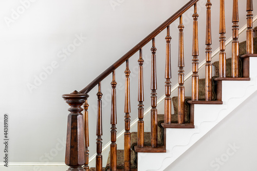 Fotomural Antique Staircase with Octagon Post in Italianate Style