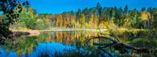 Beautiful Lake Panorama, Autumn Forest.