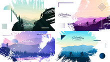 Vector Illustration. Travel Concept Of Discovering, Exploring And Observing Nature. Hiking, Biking, Climbing, Looking At View. Adventure Trekking Tourism. Flat Design Template Of Web Banner, Website
