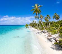 Beautiful Beach On A Tropical Island In The South Seas