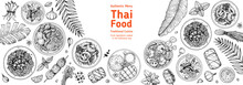 Thai Food Top View Vector Illustration. Food Menu Design Template. Hand Drawn Sketch. Thai Food Menu. Vintage Style. Tom Yum, Som Tam, Noodle Soup, Tom Kha Gai, Mango Stiky Rice.