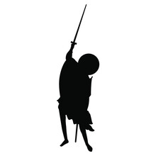 Medieval Saint Warrior Man Fighting With Sword. Orthodox Christian Male Character. Black Silhouette On White Background.