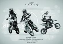 Man Riding Motobike, Extreme Sport Racing, Vector Illustration