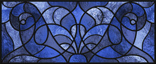Sketch Of A Blue Stained Glass Window. Abstract Stained-glass Background. Art Nouveau Decor For Interior. Vintage. Seamless Pattern. Luxury Modern Interior. Transparency. Blue And Purple Colors.