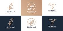 Set Of Bird Logo Hipster Vintage Retro Vector Line Outline Mono Line Art