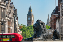 Sir Edwin Landseer's Lion At Trafalgar Square With Big Ben And Red Double-decker Bus, London, United Kingdom