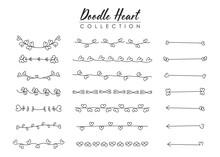 Doodle Hearts Divider Elements.