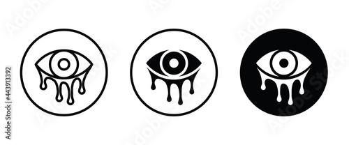 Fotografering Tear, cry eye, tearing eyes vector, sign, symbol, logo, illustration, editable s