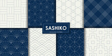 Japanese Sashiko Seamless Pattern Vector Collection, Decorative Wallpaper.